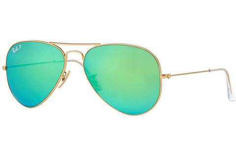 Ray-Ban RB3025 112/P9 Aviator Flash Sunglasses, Gold Frame, Polarized Green Flash 58mm Lenses