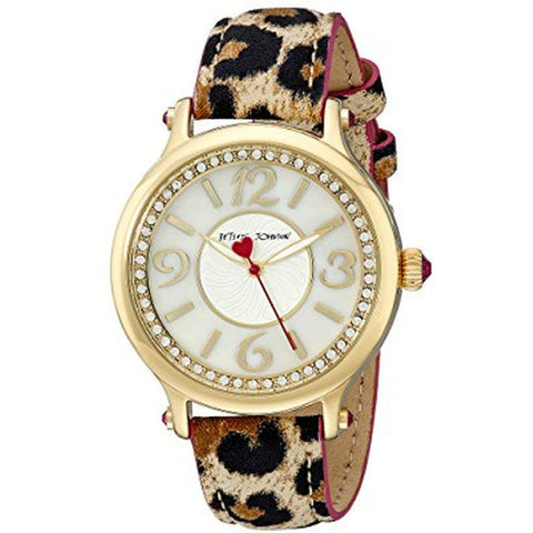 Betsey Johnson BJ00524-03 Analog Display Quartz Watch, Multicolor Leather Band, Round 40mm Case