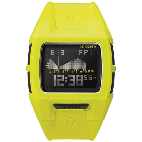 Nixon A3641262 Men's Lodown S Neon Yellow Digital Watch, Yellow Polyurethane Band, Square 39mm Case