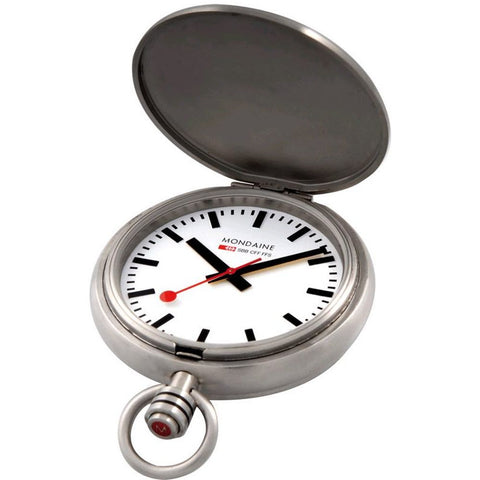 Mondaine A660.30349.16SBB Savonnette II Analog Display Quartz Pocket Watch, Silver Stainless Steel Chain, Round 51mm Case