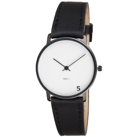 Projects 7404 5 O'Clock Analog Display Quartz Watch, Black Leather Band, Round 33mm Case