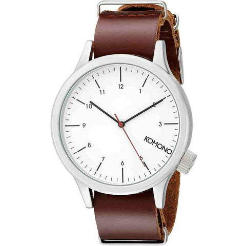 Komono KOM-W1903 Magnus Silver Burgundy Analog Quartz Watch, Burgundy Leather Band, Round 46mm Case