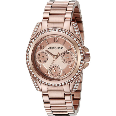 Michael Kors MK5613 Mini Blair Analog Display Quartz Watch, Rose Gold Stainless Steel Band, Round 33mm Case