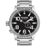 Nixon Men's A057000 51-30 Tide Black Analog Watch, Silver Stainless Steel Band, Round 51mm Case