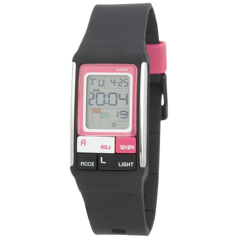 Casio LDF-52-1A Women's Digital Display Quartz Watch, Black Resin Band, Rectangle 23.6mm Case