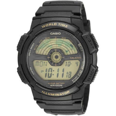 Casio AE1100W-1BV Digital Display Quartz Watch, Black Rubber Band, Round 45mm Case