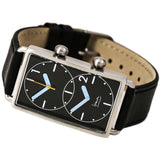 Projects 7610B Grand Tour Dual Time Analog Display Quartz Watch, Black Leather Band, Rectangle 25.5mm Case