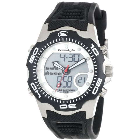 Freestyle Men's FS81242 Shark X 2.0 Black/Silver Analog and Digital Watch, Black Polyurethane Band, Round 42mm Case