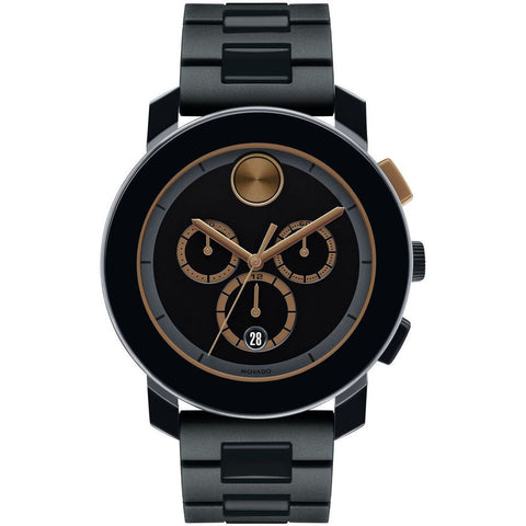 Movado 3600271 Bold Analog Display Chronograph Quartz Watch, Black TR90 Composite Material and Stainless Steel Band, Round 43.5mm Case