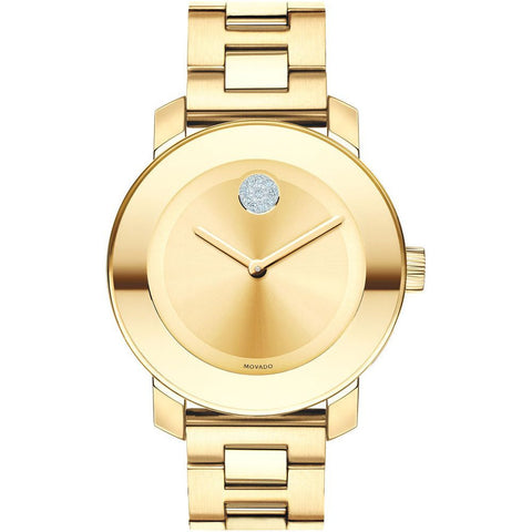 Movado 3600104 Bold Analog Display Quartz Watch, Yellow Gold Ion-Plated Stainless Steel Band, Round 36mm Case