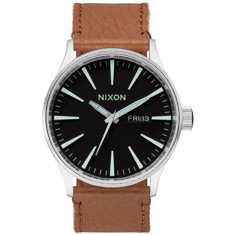 Nixon A1051037 Men's Sentry Leather Black/Saddle Analog Display Quartz Watch, Brown Leather Band, Round 42mm Case