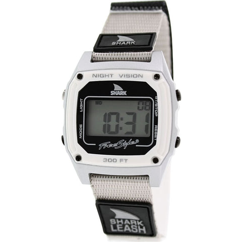 Freestyle Unisex 102241 Shark Leash Grey Digital Watch, Grey/Black Nylon Velcro Band, Square 37mm Case