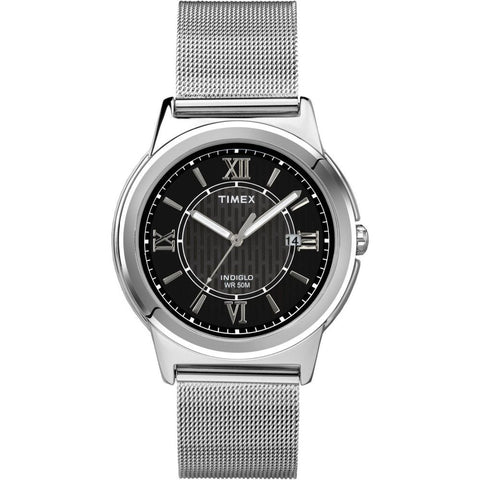 Timex T2P5199J Bank Street Men's Analog Display Quartz Watch, Silver Stainless Steel Band, Round 40mm Case