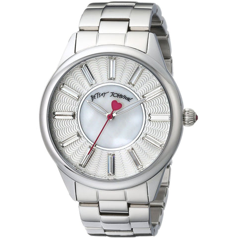Betsey Johnson BJ00433-01 Women's Analog Display Quartz Watch - Silver Bracelet - Round 40mm Case