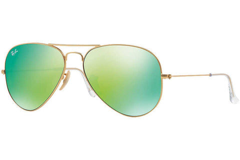 Ray-Ban RB3025 112/19 Aviator Flash Lenses Sunglasses, Gold Frame, Green Flash 58mm Lenses