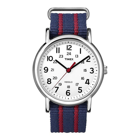 Timex T2N747KW Weekender Slip Thru Analog Display Quartz Watch, Blue Nylon Band, Round 38mm Case