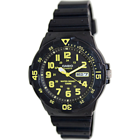 Casio MRW200H-9BV Men's Analog Display Quartz Watch, Black Resin Band, Round 44.6mm Case