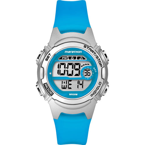 Timex TW5K96900 Marathon Women's Digital Display Quartz Watch, Blue Resin Band, Round 33mm Case
