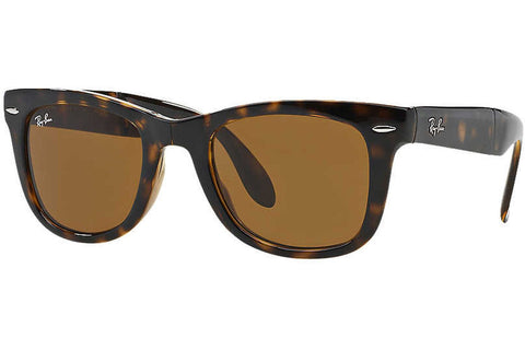 Ray-Ban RB4105 710 Wayfarer Folding Classic Sunglasses, Tortoise Frame, Brown Classic 50mm Lenses