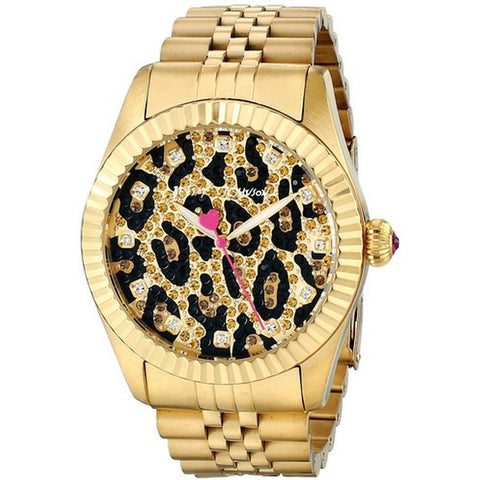 Betsey Johnson BJ00428-02 Women's Analog Display Quartz Watch, Gold Stainless Steel Band, Round 50mm Case