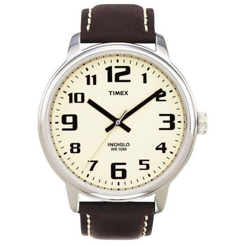 Timex T282019J Easy Reader Men's Analog Display Quartz Watch, Brown Leather Band, Round 43mm Case