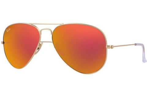 Ray-Ban RB3025-112/69 Aviator Flash Lenses Sunglasses, Gold Frame, Orange Flash 58mm Lenses