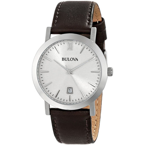Bulova 96B217 Classic Analog Display Quartz Watch, Brown Leather Band, Round 38mm Case