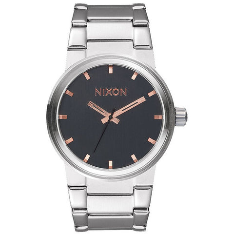 Nixon A1602064 Men's Cannon Gray/Rose Gold Analog Watch, Silver Stainless Steel Band, Round 40mm Case