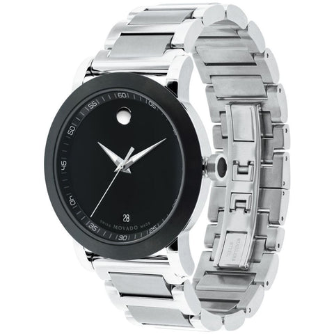 Movado 0606604 Museum Sport Analog Display Quartz Watch, Silver Stainless Steel Band, Round 42mm Case