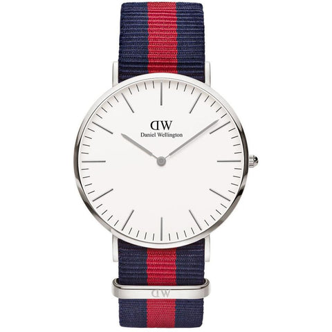Daniel Wellington 0201DW Classic Oxford Analog Display Quartz Watch, Striped Nylon Band, Round 40mm Case