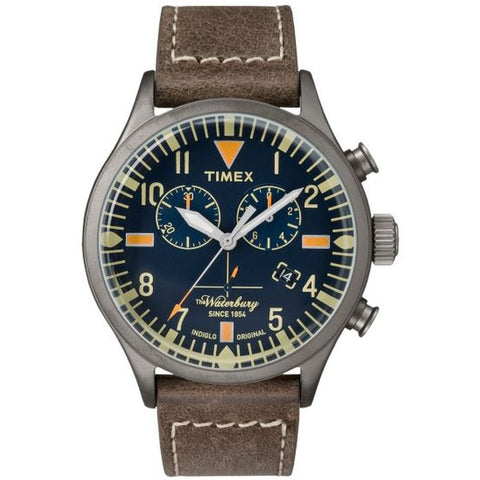 Timex TW2P84100 The Waterbury Chronograph Men's Analog Display Quartz Watch, Brown Leather Band, Round 42mm Case