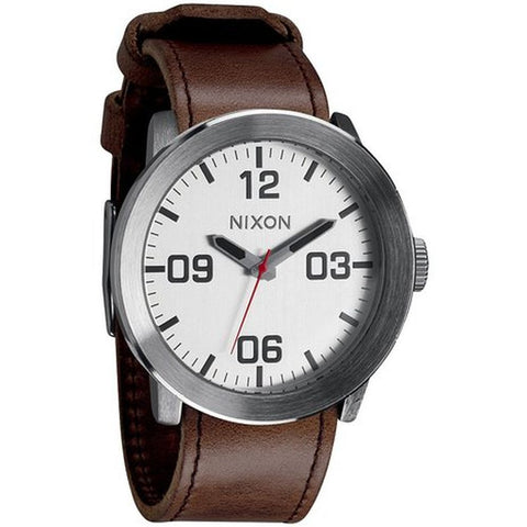 Nixon A2431113 Men's Corporal Silver/Brown Analog Watch, Brown Leather Band, Round 48mm Case