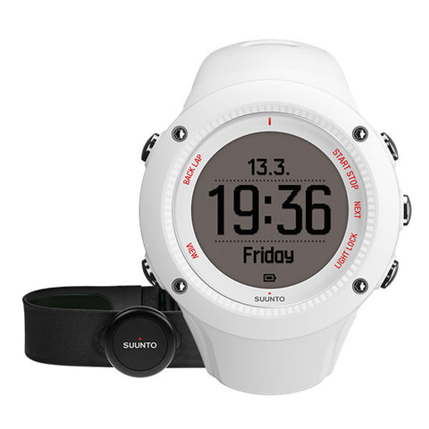 Suunto SS021258000 Ambit3 Run White (HR) Digital Display Quartz Watch, White Silicone Band, Round 50mm Case