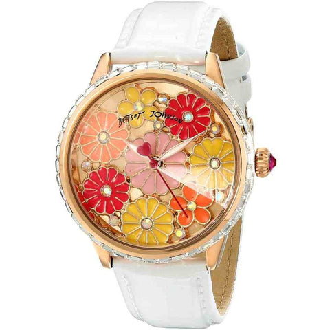 Betsey Johnson BJ00460-03 Analog Display Quartz Watch, White Leather Band, Round 42mm Case