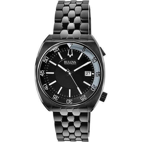 Bulova 98B219 Men's Accutron II Analog Display Quartz Watch, Black Stainless Steel Band, Round 43mm Case