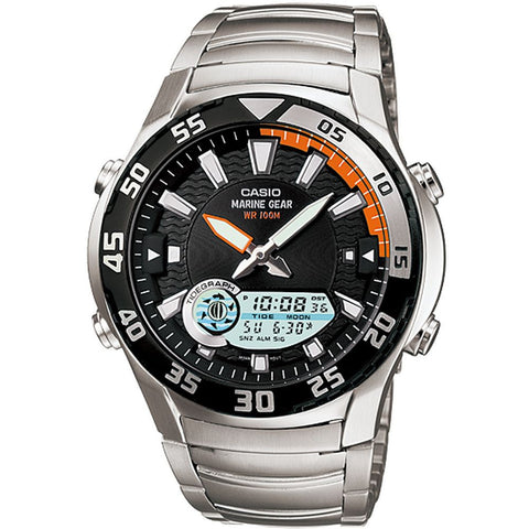 Casio AMW-710D-1A Analog/Digital Display Quartz Watch, Silver Stainless Steel Band, Round 43mm Case