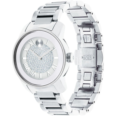 Movado 3600254 Bold Luxe Analog Display Quartz Watch, Silver Stainless Steel Band, Round 32mm Case