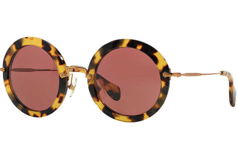 Miu Miu MU 13NS 7S0/0A0 Sunglasses, Yellow Havana Frame, Bordeaux 49mm Lenses