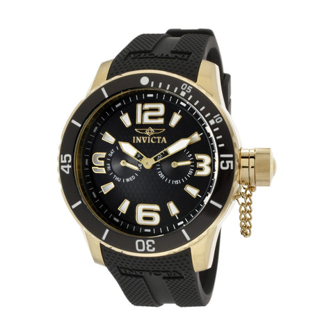 Invicta 1792 Specialty Men's Analog Display Quartz Watch, Black Polyurethane Band, Round 48mm Case
