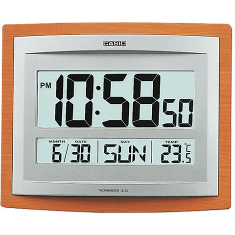 Casio ID-15S-5DF Digital Display Wall and Table Clock, With Auto Calendar, Alarm and Thermometer Functions