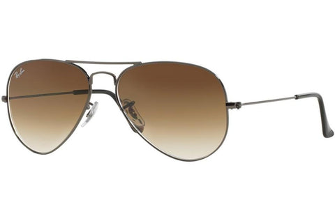 Ray-Ban RB3025 004/51 Aviator Gradient Sunglasses, Gunmetal Frame, Light Brown Gradient 58mm Lenses