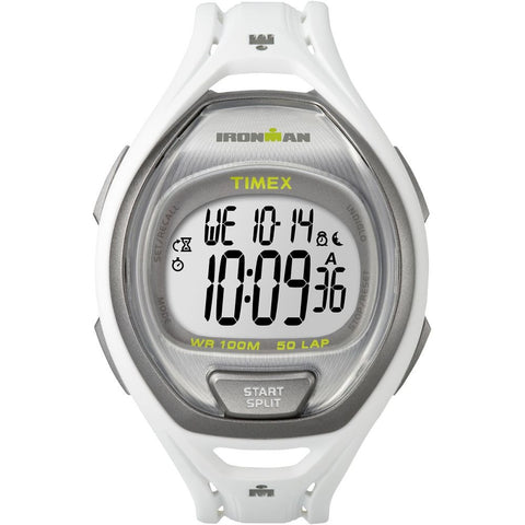 Timex TW5K962009J Ironman Sleek 50 Men's Digital Display Quartz Watch, White Resin Band, Round 42mm Case