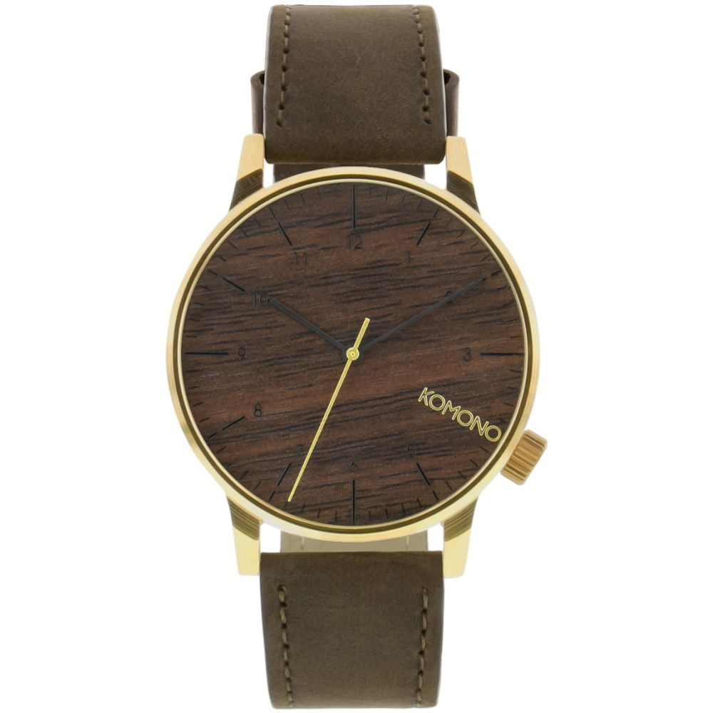 Komono KOM-W2021  Winston Gold Wood Analog Quartz Watch, Brown Leather Band, Round 41mm Case