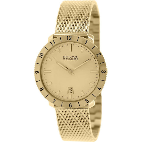 Bulova 97B129 Accutron II Moonview Collection Analog Display Quartz Watch, Gold Stainless Steel Mesh Band, Round 42mm Case