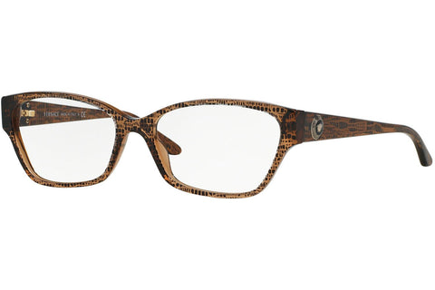 Versace VE3172 991 Eyeglasses, Lizard Brown Frame, Clear 54mm Lenses