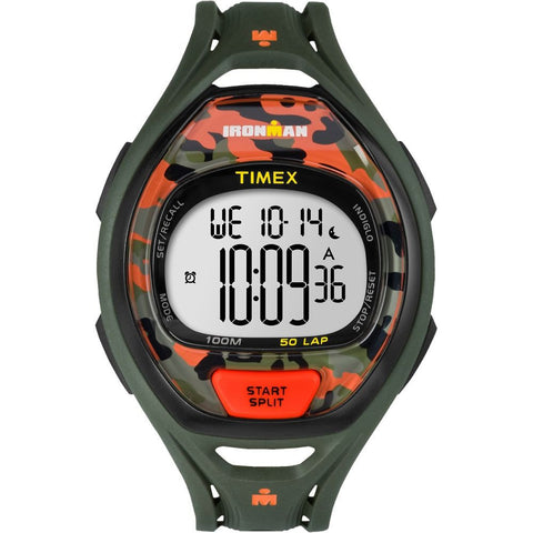 Timex TW5M01200 Ironman Sleek 50 Full Size Men's Digital Quartz Watch, Green Resin Band, Round 41mm Case