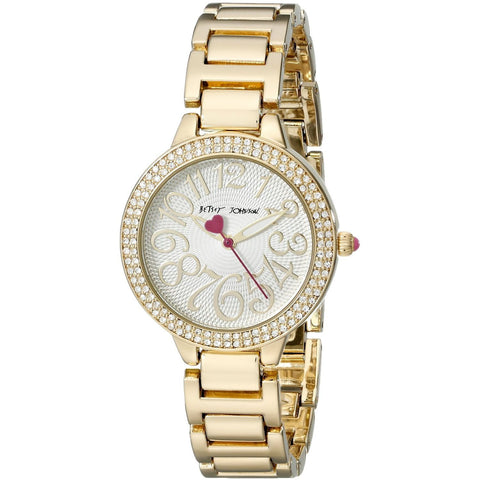 Betsey Johnson BJ00235-01 Women's Analog Display Quartz Watch - Gold Bracelet - Round 32mm Case
