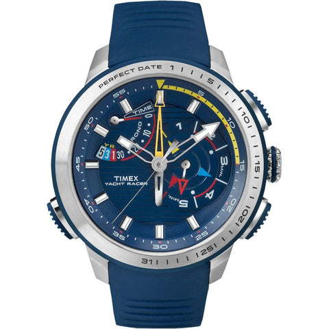 Timex TW2P73900 Yacht Racer Men's Analog Display Quartz Watch, Blue Silicone Band, Round 47mm Case