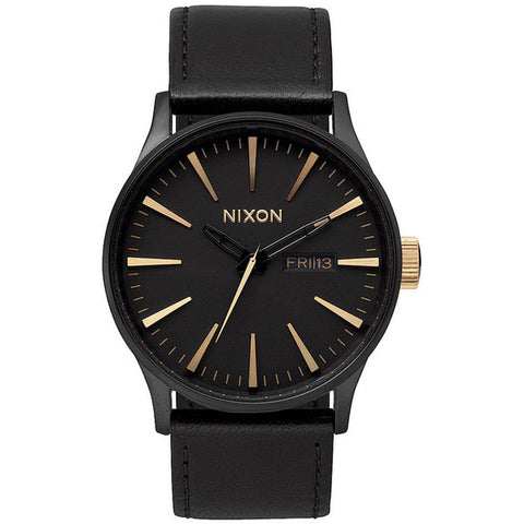 Nixon A1051041 Men's Sentry Leather Matte Black/Gold Analog Watch, Black Leather Band, Round 42mm Case