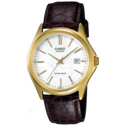 Casio MTP-1183Q-7A Gold Analog Display Quartz Watch, Brown Leather Band, Round 41mm Case